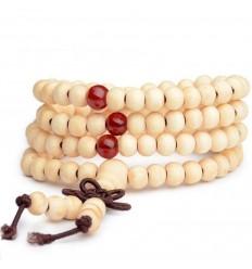 Bracelet Tibétain, Mala en perles de bois 6mm + noeud sans fin. Coloris beige