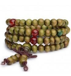 Bracelet Tibétain, Mala en perles de bois 6mm + noeud sans fin. Coloris vert