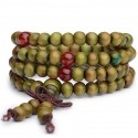 Bracelet Tibétain, Mala en perles de bois + noeud sans fin. Coloris vert