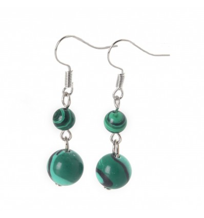 Pair of earrings 2 balls of Malachite