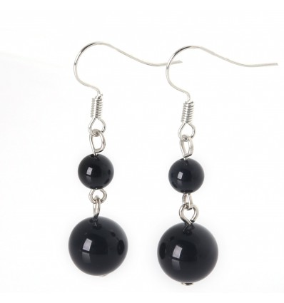 Pair of earrings 2 balls in Onyx