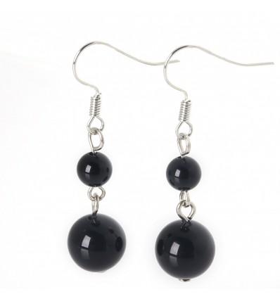 Pair of earrings 2 balls in Onyx