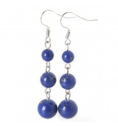 Earrings hanging 3 balls of Lapis Lazuli - the Delivery is free !!!