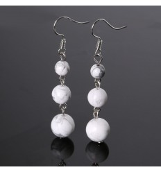 Earrings hanging 3 balls in Howlite