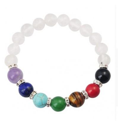 Bracelet 7 chakras en Cristal de Roche. Bijoux Yoga / Méditation.
