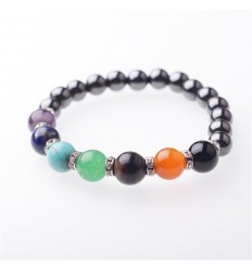 Bracelet 7 chakras in Hematite. Free shipping