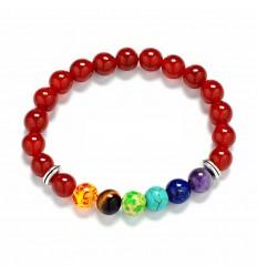 Bracelet 7 chakras, Onyx red