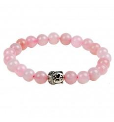 Bracciale in Quarzo rosa perla + Buddha. Spedizione gratuita.
