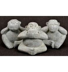 Le 3 scimmie sagge. Statuette deco pietra Java bianco H13cm