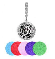 Aromatherapy necklace with pendant, aroma diffuser Om silver.
