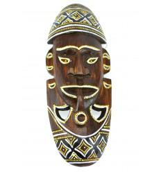 Masque Africain en bois 30cm motif fumeur de pipe.