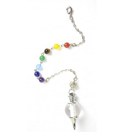 Pendule séphoroton en cristal de roche et 7 chakras. Radiesthésie.