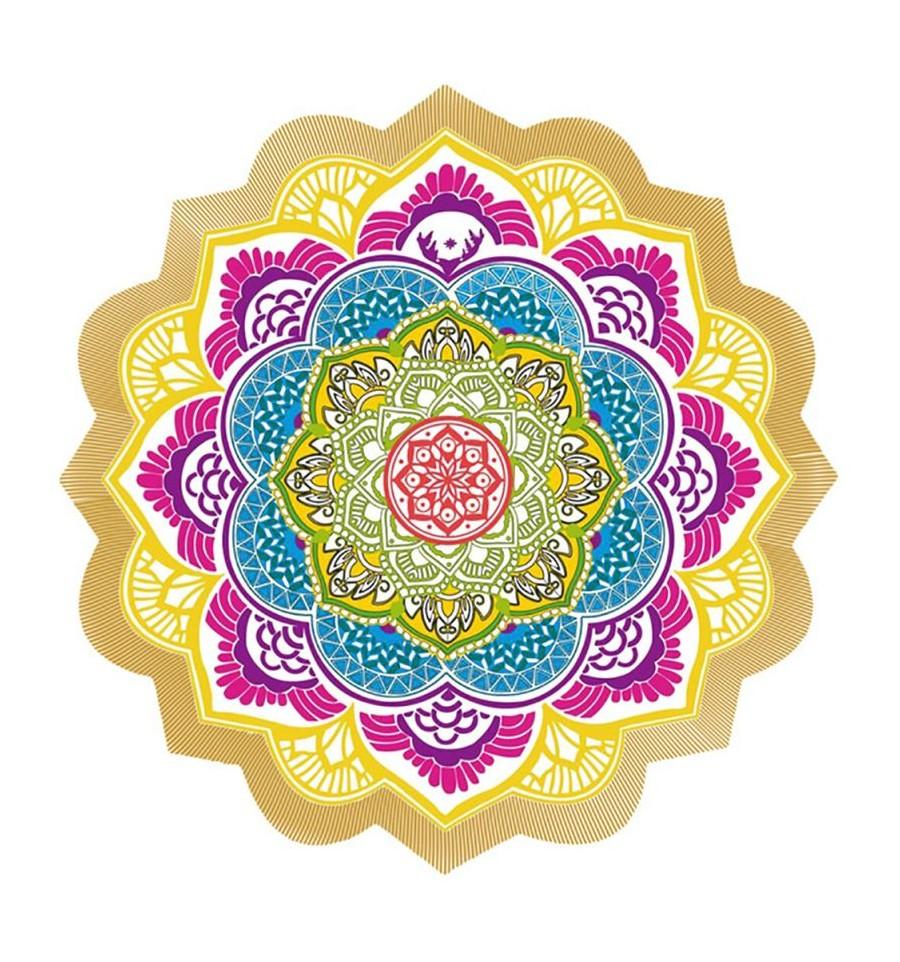 Tapis De Meditation Rond Tenture Drap De Plage 150cm Mandala Ebay