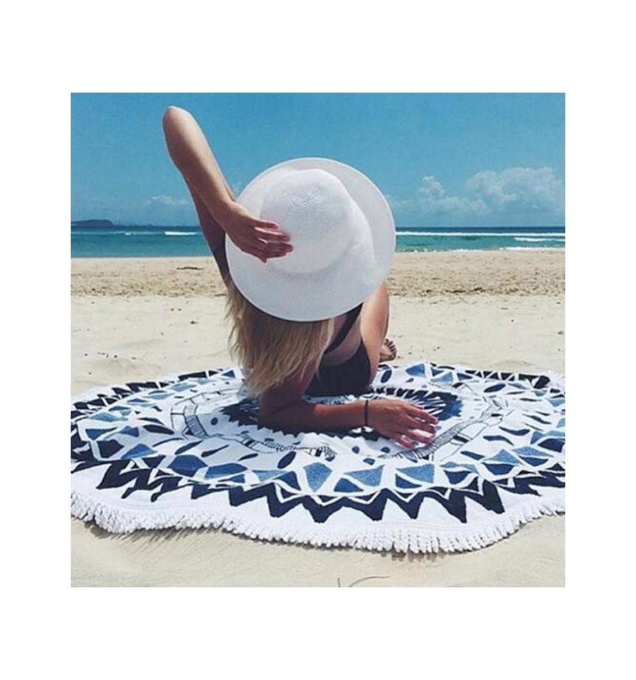 drap de plage rond azteque blanc et bleu tapis de yoga tenture mural. Black Bedroom Furniture Sets. Home Design Ideas
