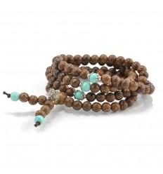 Bracelet Tibétain, Mala en perles de bois + noeud sans fin