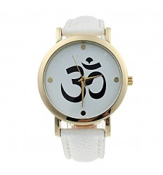 "Montre fantaisie ""Aum"" - bracelet similicuir blanc"
