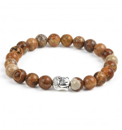 Elasticated wristband jasper wood anti-stress pattern buddha, not expensive.