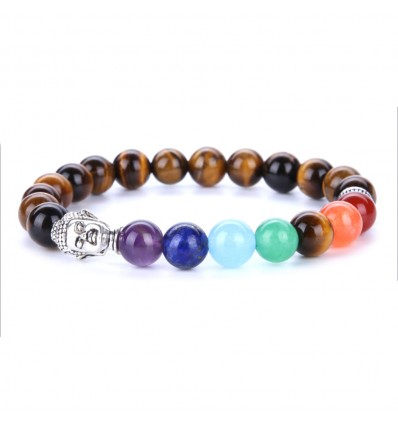 Bracelet 7 chakra tiger eye and 7-precious stones.
