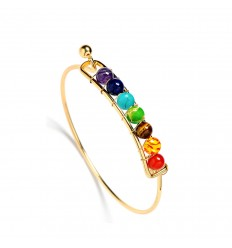 Bracelet jonc 7 chakras, métal doré et 7 pierres fines.