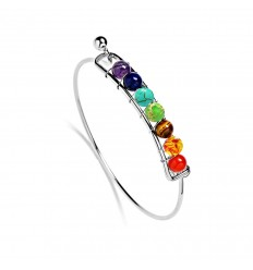 Bangle Bracelet 7 chakras, silver metal, and 7-precious stones.
