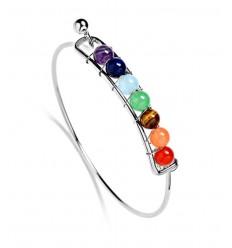 Bracelet 7 chakras, métal argenté et 7 pierres fines.