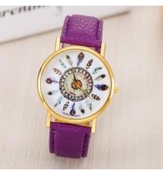Watch woman pattern feather bracelet purple