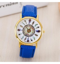 Montre femme motif plumes, bracelet bleu marine. Livraison France Gratuite !