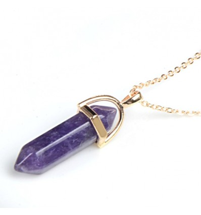 Necklace with pendant-art hexagonal Amethyst natural . Anti-stress and soothing.
