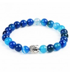 Bracelet in blue Agate + pearl Buddha. Free shipping.