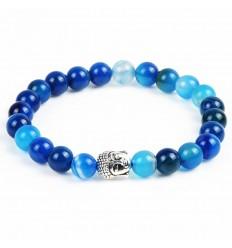 Bracelet in blue Agate + pearl Buddha