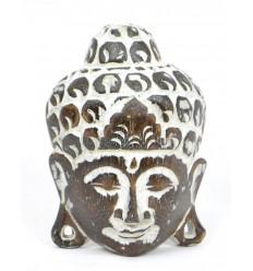 Small Mask of Buddha wall H15cm wooden satiny finish.
