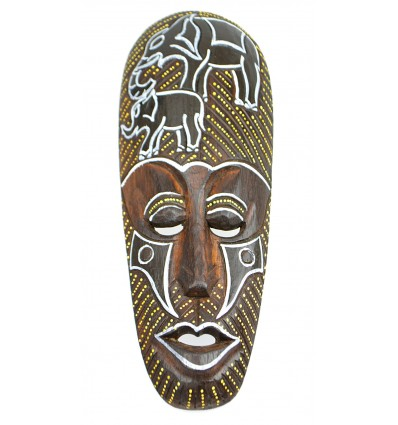 Achat Déco afrique pas cher. Masque africain en bois motif éléphant.