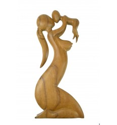 """La grande Statua di """"Maternità"""" h50cm legno grezzo. La madre e il bambino"""