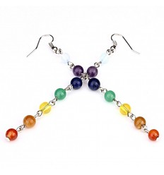 Earrings 7 chakras, silver plated metal and fine stones