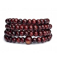 Bracciale Mala Tibetano perline in legno bordeaux.