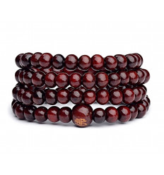 Bracelet Tibetan Mala beads wood bordeaux.