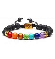Bracelet 7 chakras and lava stone - Tree of life symbol. Free delivery !!!