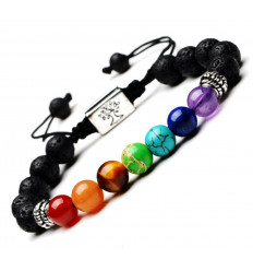 Bracelet 7 chakra and lava stone - Symbol Tree of life silver. Free delivery !!!