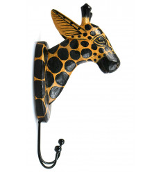 Peg trophy mural head of Giraffe in wood, decor room animals.