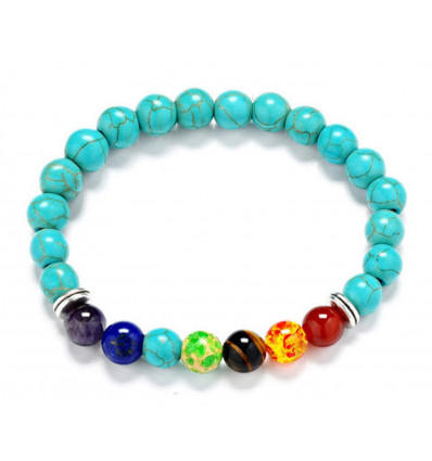 Bracelet 7 chakras Howlite turquoise