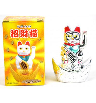 Maneki neko argenté / Petit Chat japonais Porte bonheur