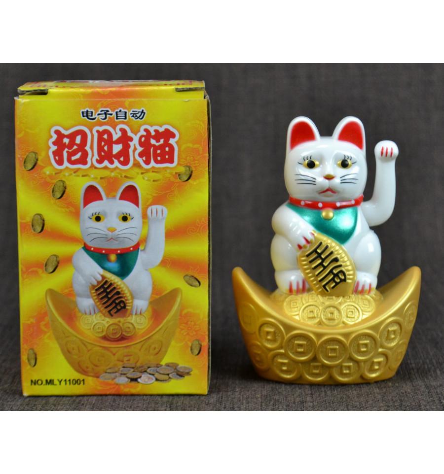 Acheter chat chinois qui bouge la patte maneki neko porte bonheur - Porte bonheur chinois chat ...