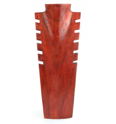 Busto display collane, rosetta in legno massello di colore rosso H40cm