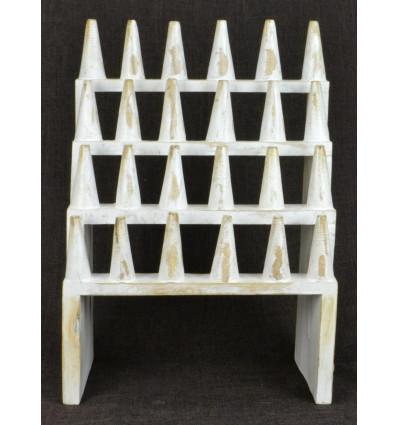 Grand porte-bagues / Présentoir à bagues (24 cônes) en bois massif finition blanc cérusé
