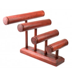 Grande espositore per bracciali/orologi da 4 barre in legno massello di colore rosso