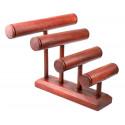 Grand présentoir à bracelets/montres 4 joncs en bois massif couleur rouge
