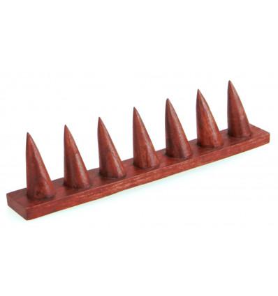 Porta-anelli in legno massello di colore rosso / Display-ring (7 coni)