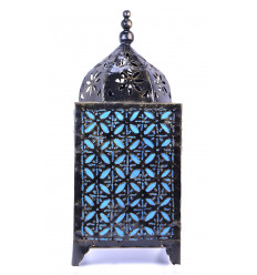 Lamp moroccan turquoise blue wrought iron. Decorating morocco east.