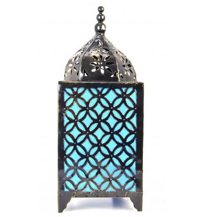 Lampe d'ambiance orientale fer forgé bleu turquoise, achat pas cher.