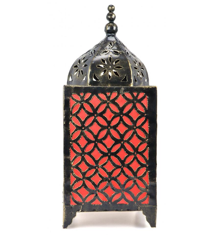 lampe de salon orientale h45cm en fer forg et tissu. Black Bedroom Furniture Sets. Home Design Ideas